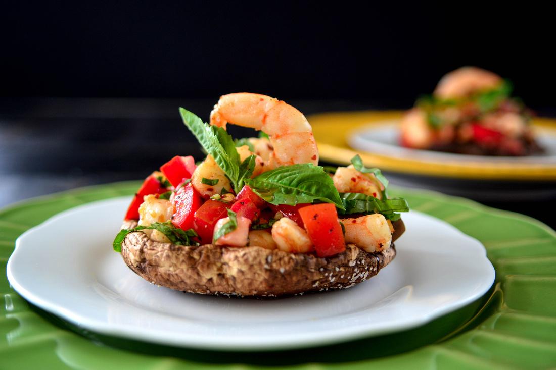 Shrimp Bruschetta stuffed Portobello